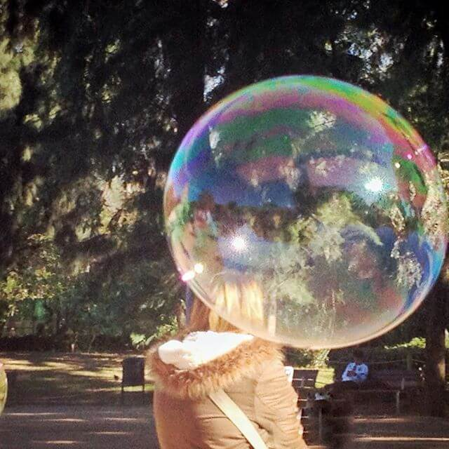barcelona bubble person in park