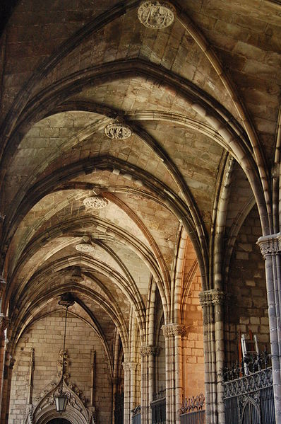 detail of archways cloister barcelona cathedral