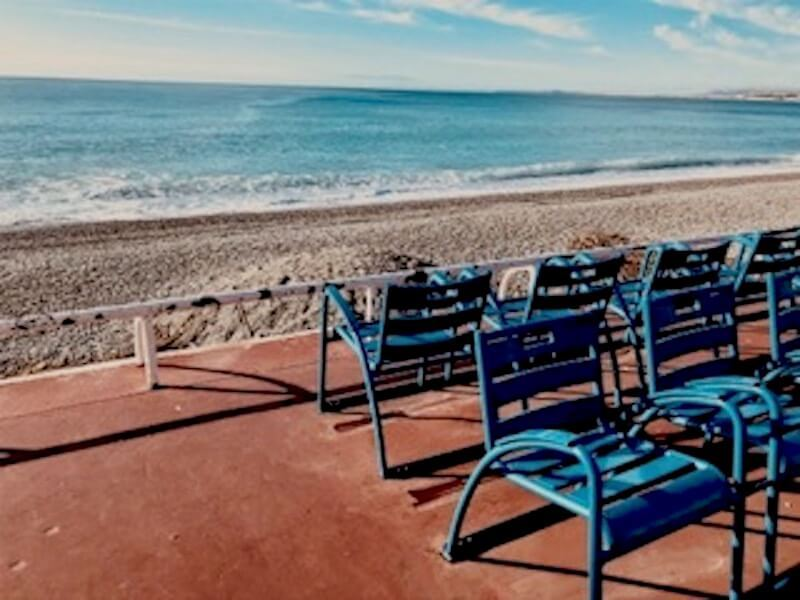 places to see in Nice blue chairs