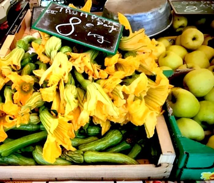 outdoor market zuchini flower south france