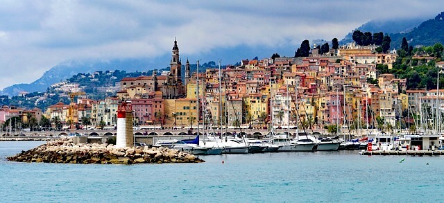 view menton colored houses beaches