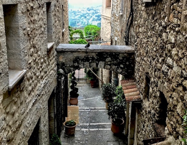 view from top small alley st paul de vence