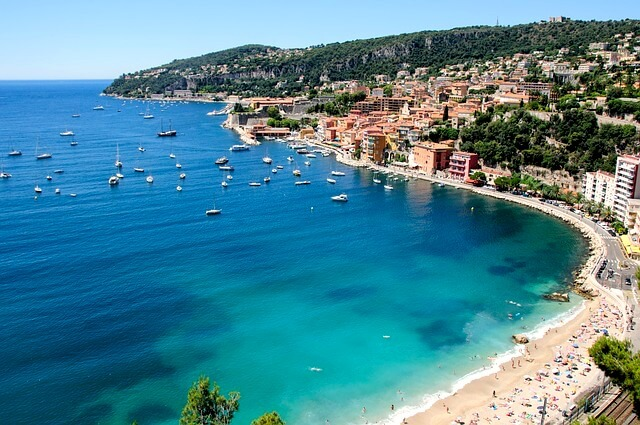 view of villefranche beaches village