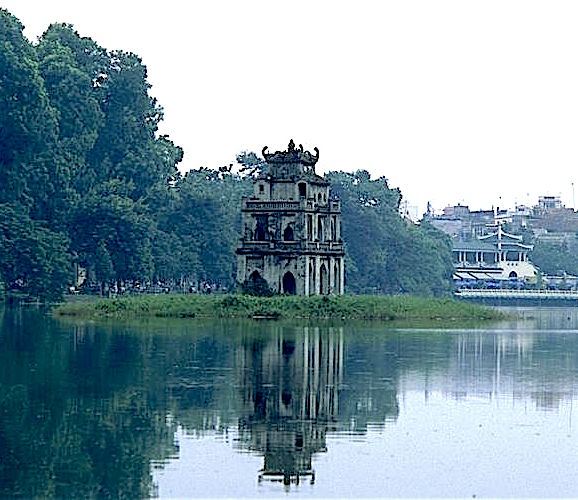 view of temple on lake hanoi