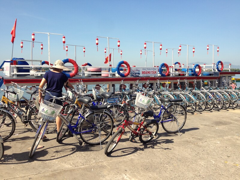 hoian bicycles lined up ferry