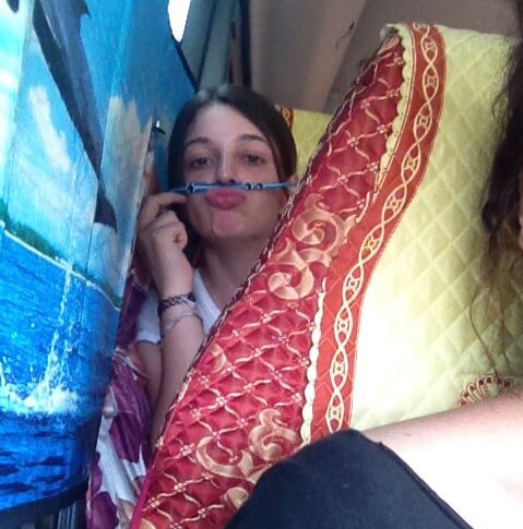 mai chau bus girl with pencil mustache