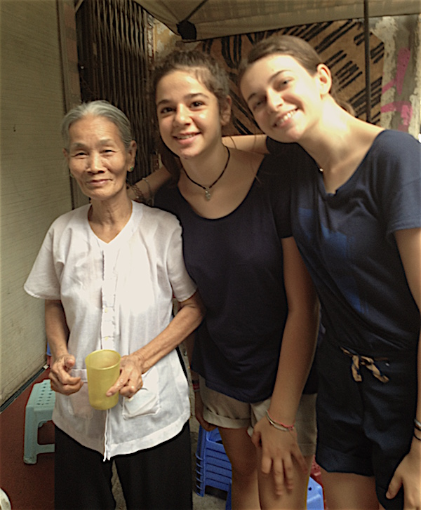 two girls with a hanoian grandmother