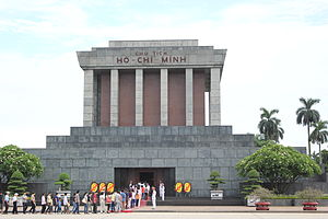 outside of ho chi minh mausoleum with line