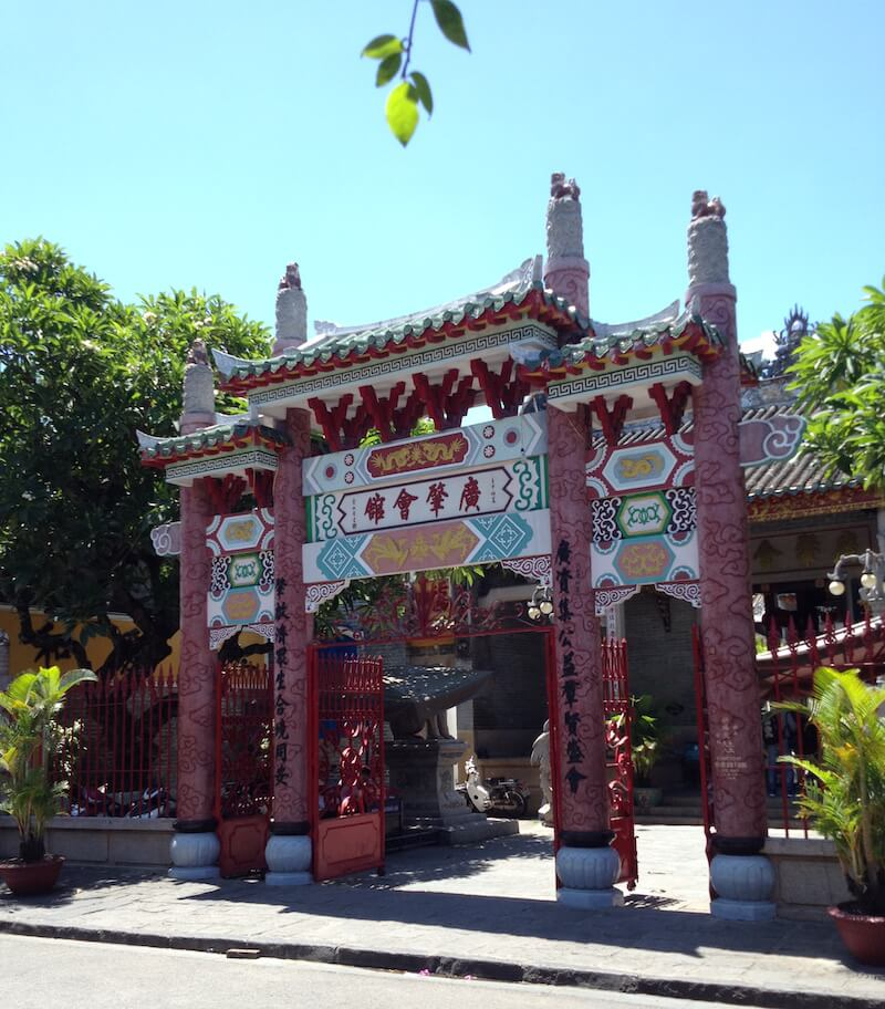 hoian red facade temple