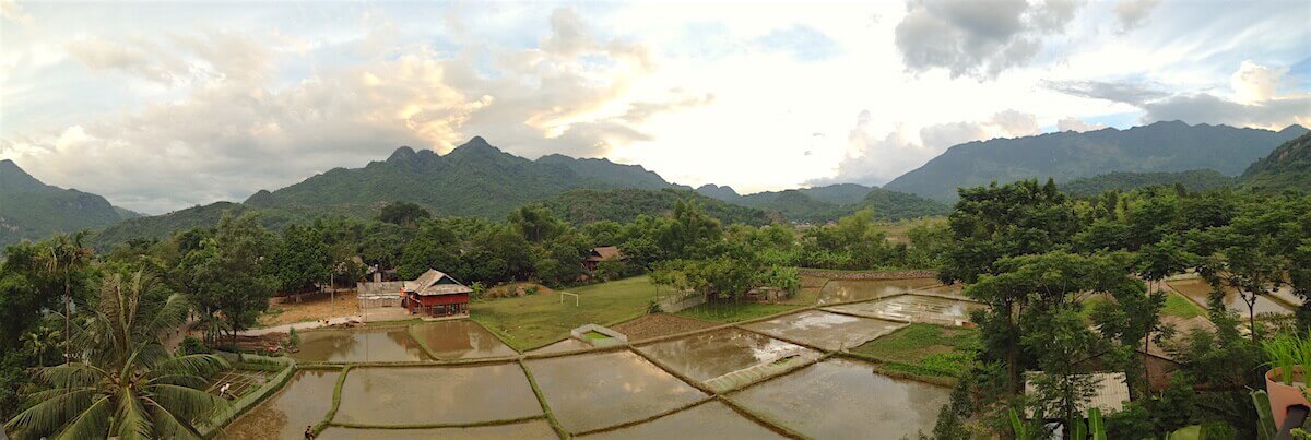 mai chau evening light over rice fields