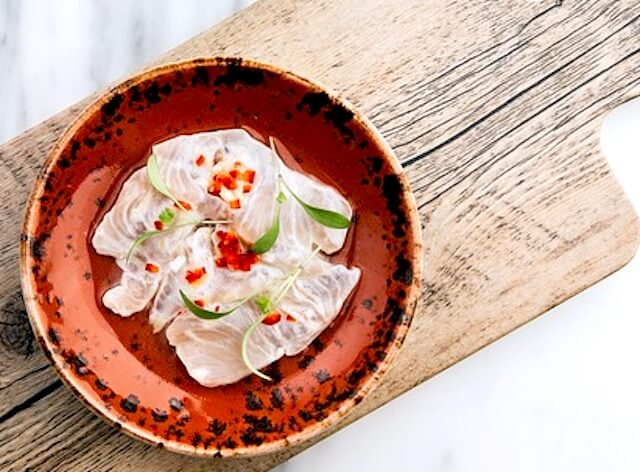 clay plate ceviche