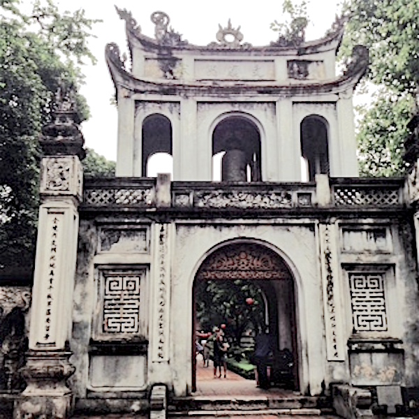 gray facade of Temple of Literature hanoi