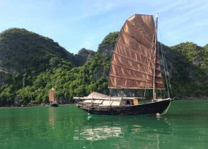 old brown sailboat halong bay