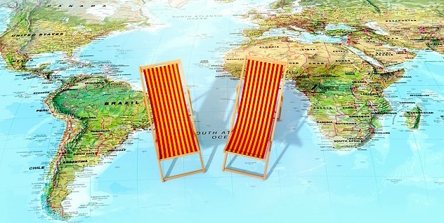 life travel two small lounge chairs on paper map