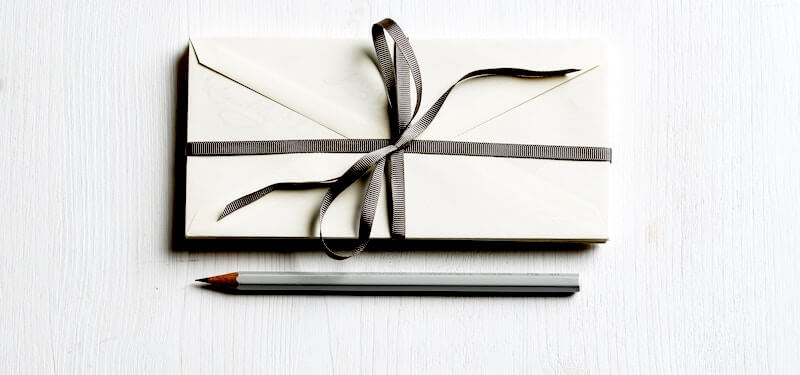 giftgiving envelope with pencil