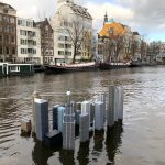 sculpture in canal water