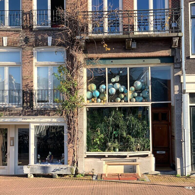 facade with balls in window