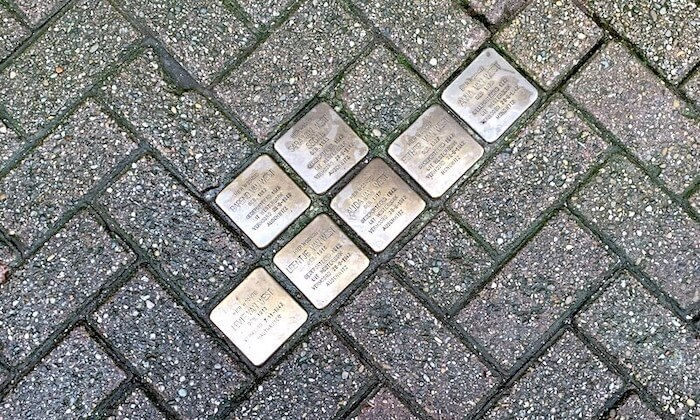 brass plaques on ground
